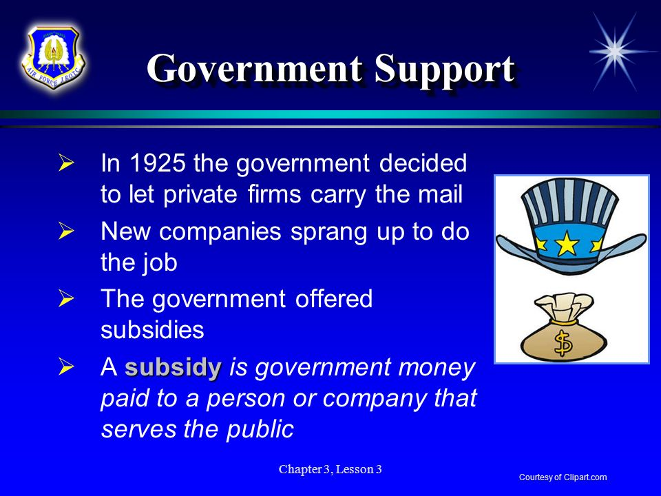 Government Support In 1925 the government decided to let private firms carry the mail. New companies sprang up to do the job.