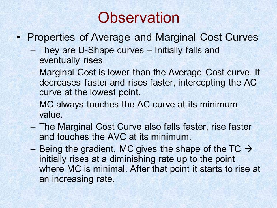 Observation Properties of Average and Marginal Cost Curves