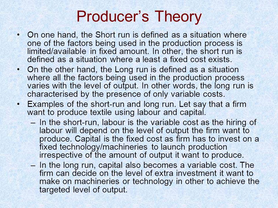 Producer's Theory
