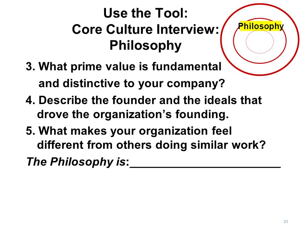 Use the Tool: Core Culture Interview: Philosophy