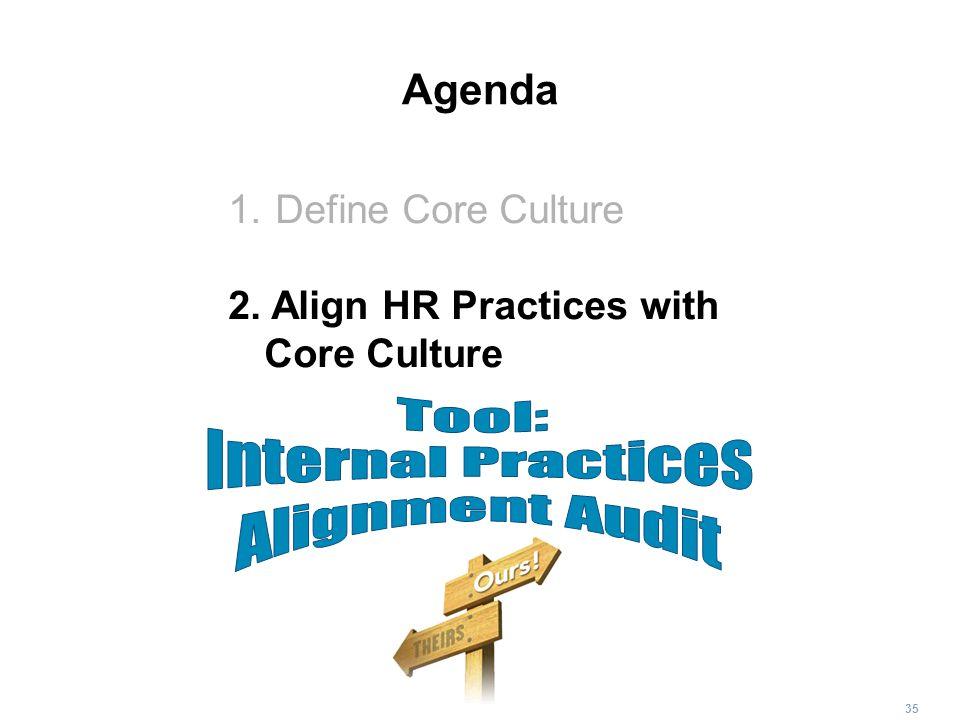 Tool: Internal Practices Alignment Audit Agenda Define Core Culture