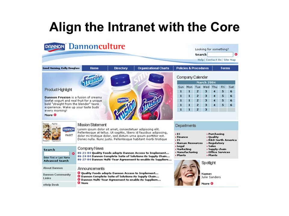 Align the Intranet with the Core