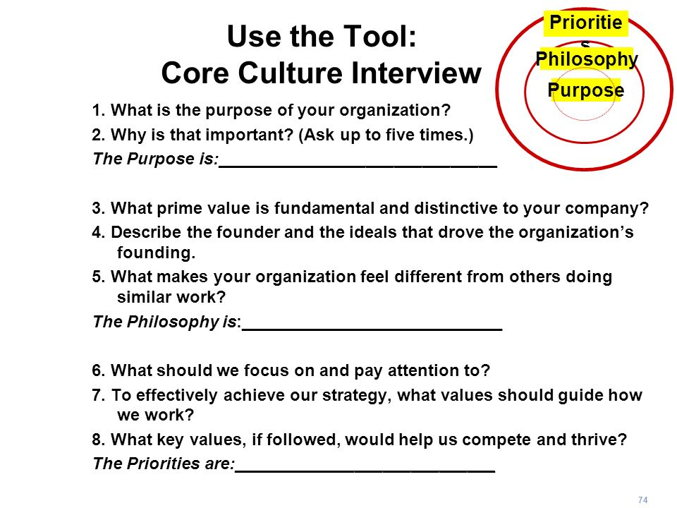 Use the Tool: Core Culture Interview