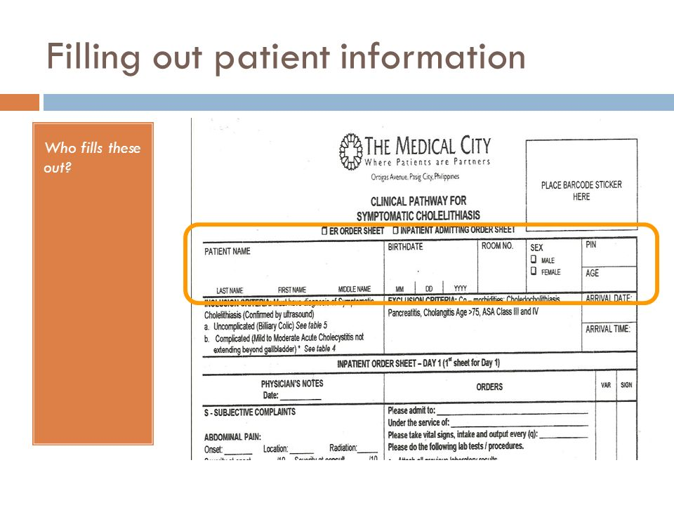 Filling out patient information