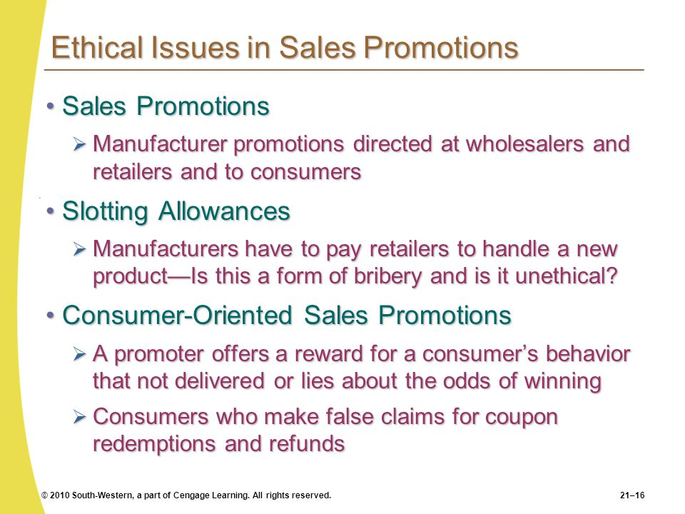 Ethical Issues in Sales Promotions