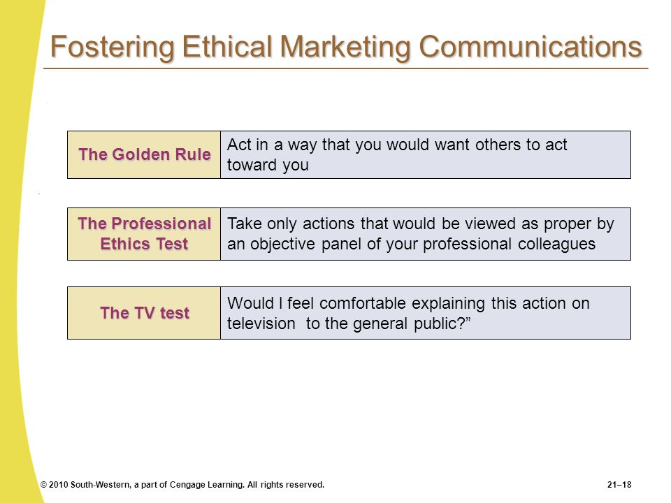 Fostering Ethical Marketing Communications