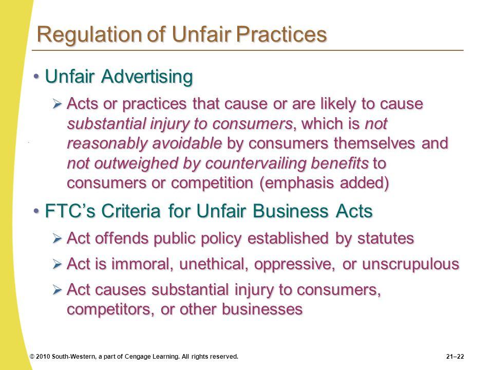 Regulation of Unfair Practices