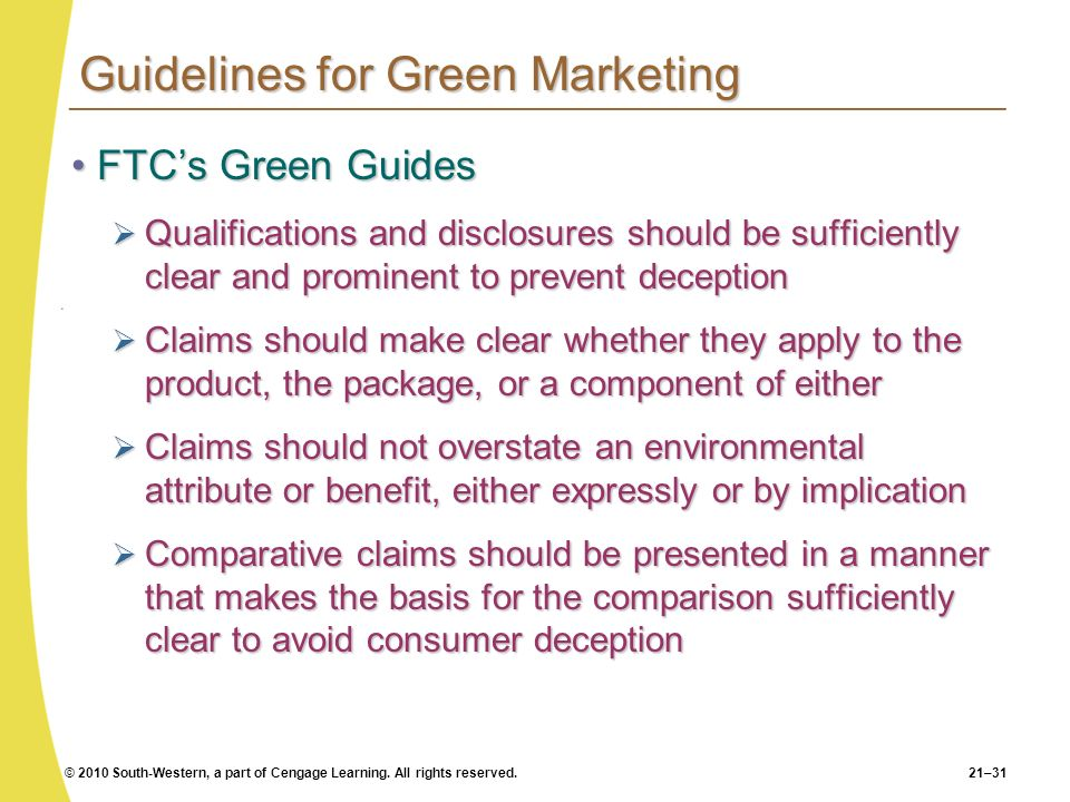 Guidelines for Green Marketing