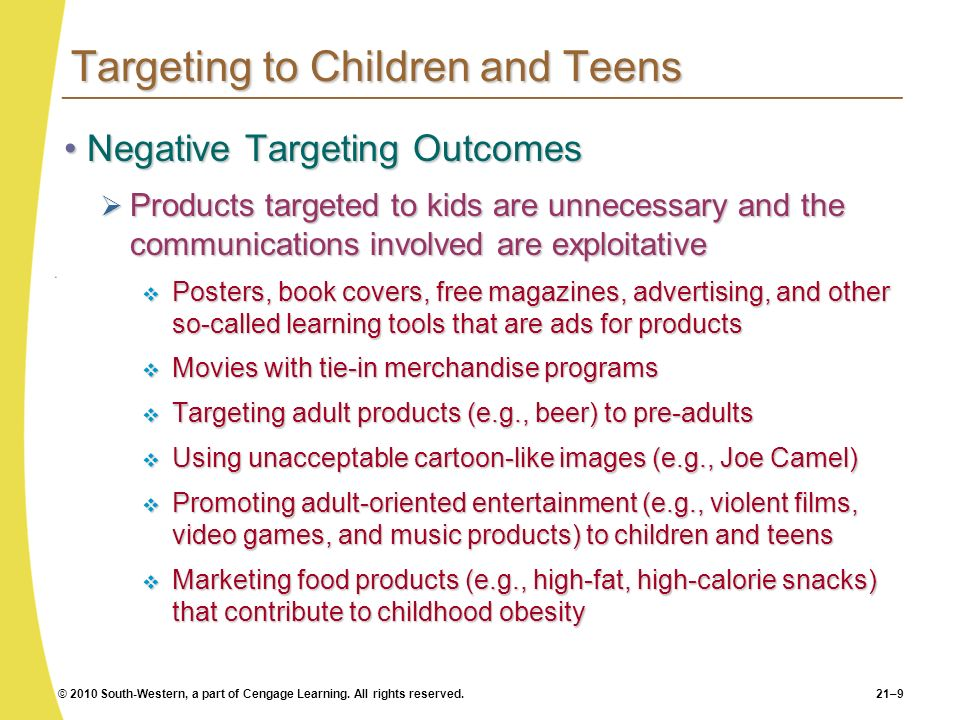 Targeting to Children and Teens