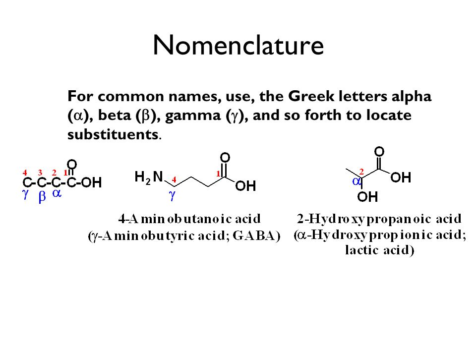 Nomenclature For common names, use, the Greek letters alpha (a), beta (b), gamma (g), and so forth to locate substituents.