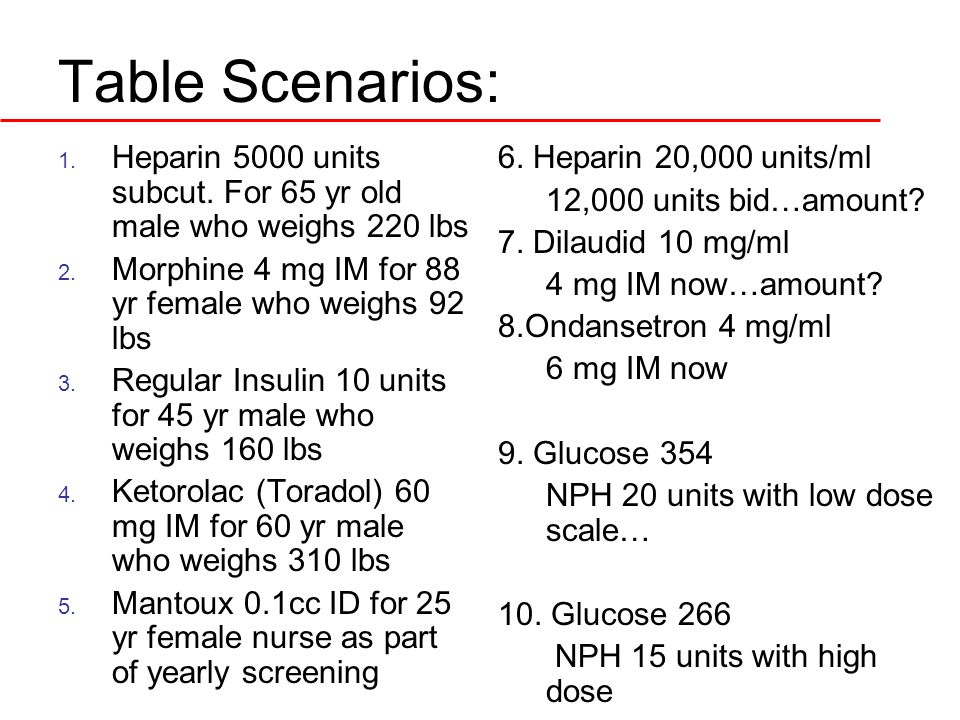 Table Scenarios: Heparin 5000 units subcut. For 65 yr old male who weighs 220 lbs. Morphine 4 mg IM for 88 yr female who weighs 92 lbs.