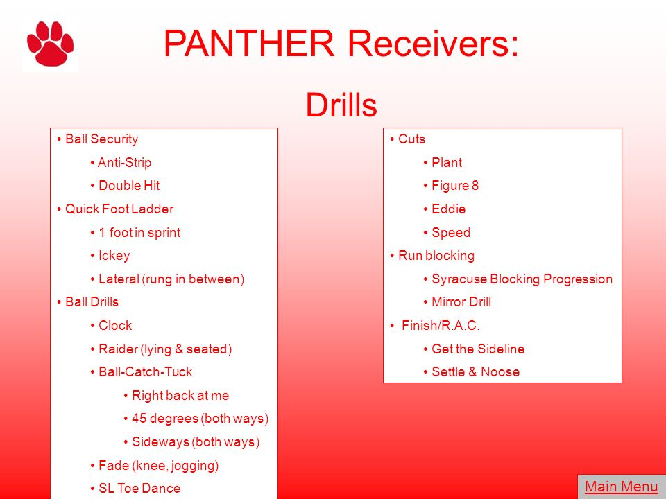 PANTHER Receivers: Drills Main Menu Ball Security Anti-Strip