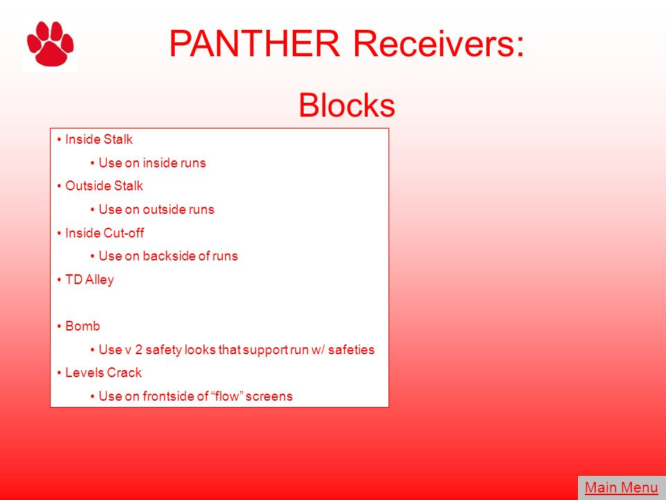 PANTHER Receivers: Blocks Main Menu Inside Stalk Use on inside runs