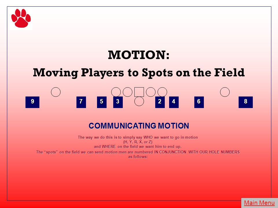 MOTION: Moving Players to Spots on the Field COMMUNICATING MOTION