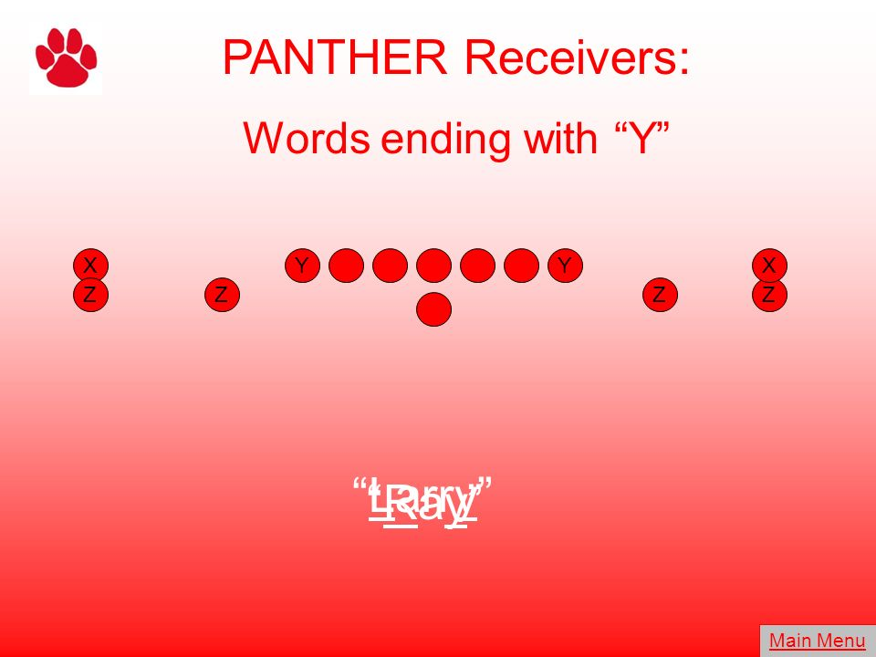 PANTHER Receivers: Larry Ray Words ending with Y X Y Y X Z Z Z Z