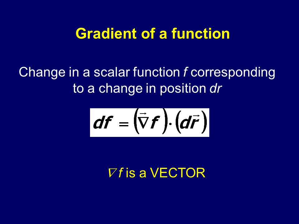 Change in a scalar function f corresponding to a change in position dr
