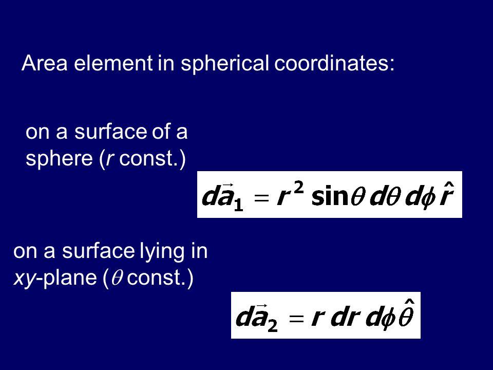 Area element in spherical coordinates: