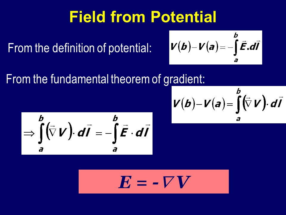 E = - V Field from Potential From the definition of potential: