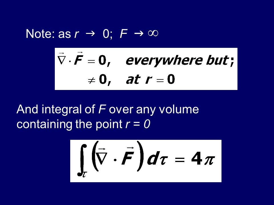 Note: as r  0; F  ∞ And integral of F over any volume containing the point r = 0