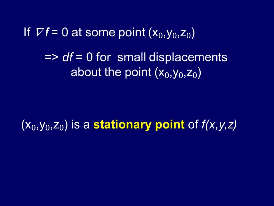 => df = 0 for small displacements about the point (x0,y0,z0)