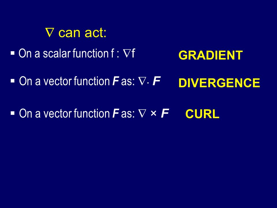  can act: On a scalar function f : f GRADIENT