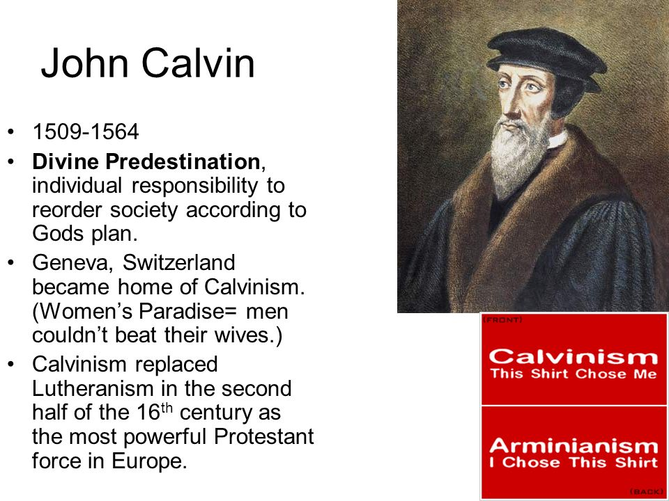 John Calvin 1509-1564. Divine Predestination, individual responsibility to reorder society according to Gods plan.