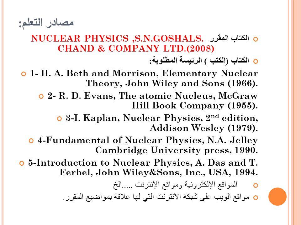 مصادر التعلم: الكتاب المقرر NUCLEAR PHYSICS ,S.N.GOSHALS. CHAND & COMPANY LTD.(2008) الكتاب (الكتب ) الرئيسة المطلوبة: