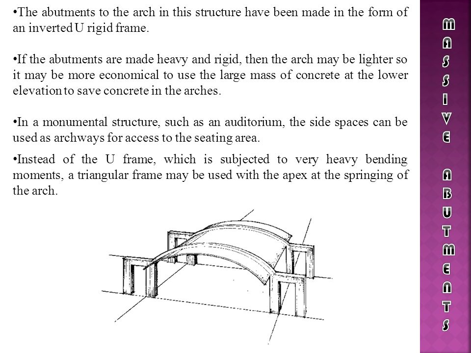 The abutments to the arch in this structure have been made in the form of an inverted U rigid frame.
