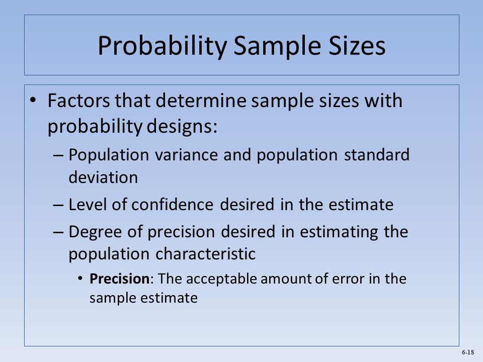 Probability Sample Sizes