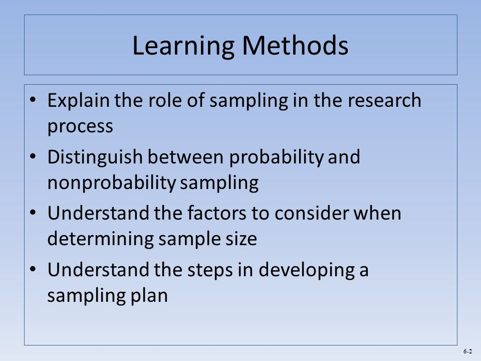 Learning Methods Explain the role of sampling in the research process
