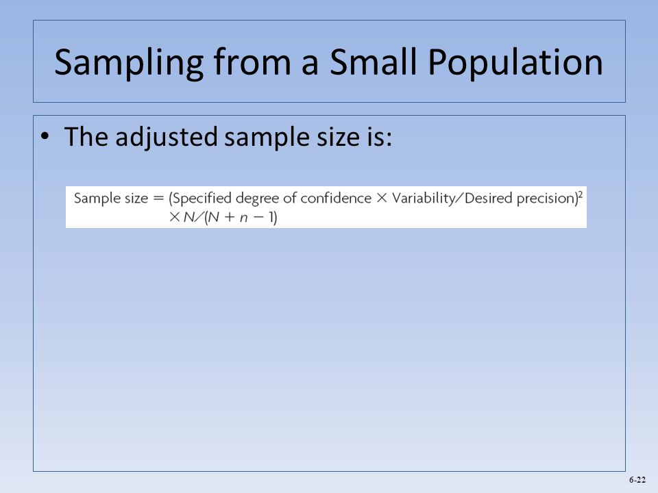 Sampling from a Small Population