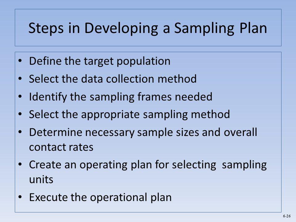Steps in Developing a Sampling Plan