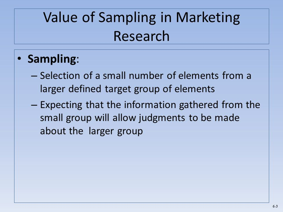 Value of Sampling in Marketing Research