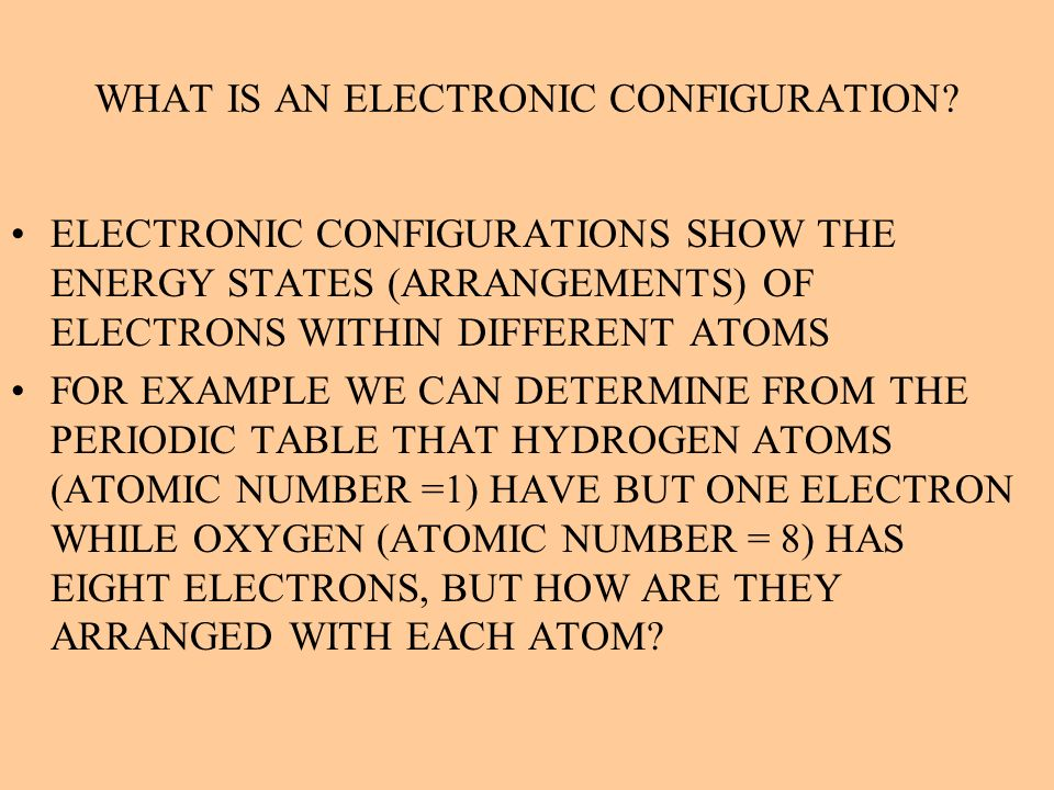 WHAT IS AN ELECTRONIC CONFIGURATION
