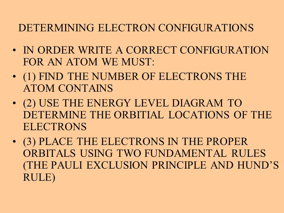 DETERMINING ELECTRON CONFIGURATIONS