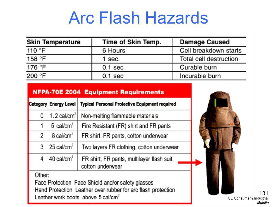 Arc Flash Hazards 131 GE Consumer & Industrial Multilin