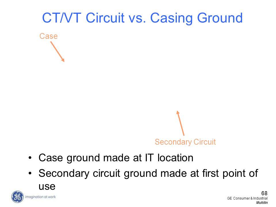 CT/VT Circuit vs. Casing Ground