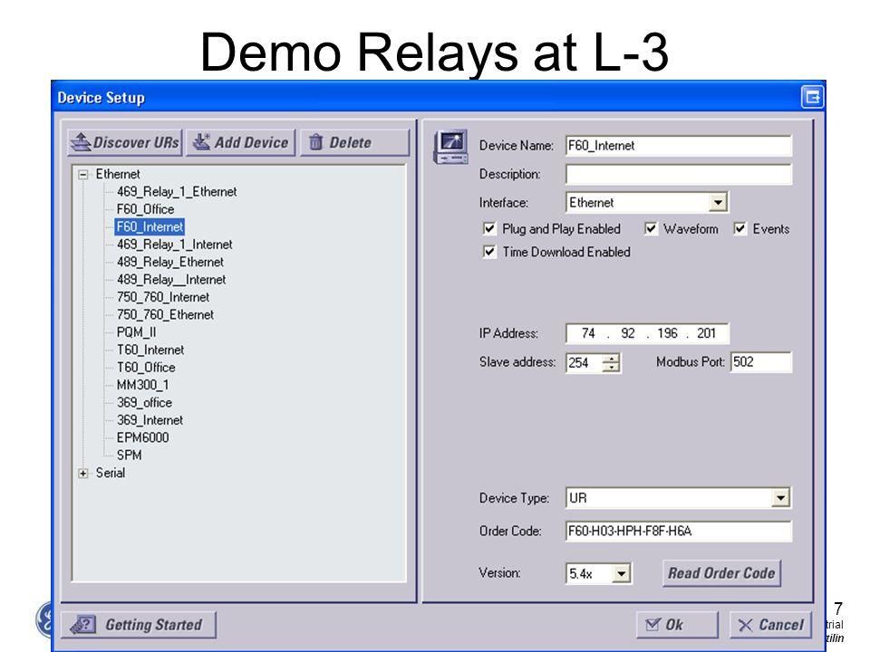 Demo Relays at L-3 7 GE Consumer & Industrial Multilin