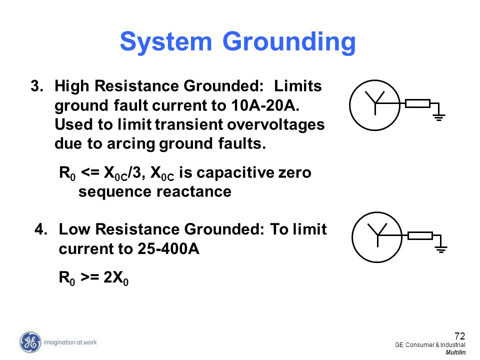 System Grounding High Resistance Grounded: Limits ground fault current to 10A-20A. Used to limit transient overvoltages due to arcing ground faults.