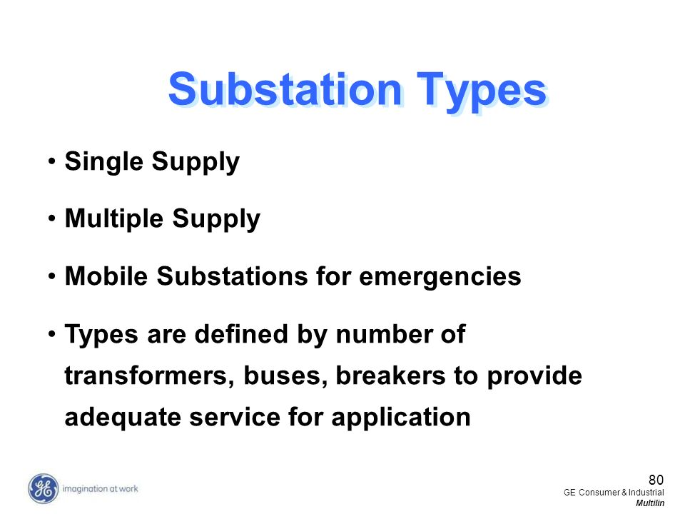 Substation Types Single Supply Multiple Supply