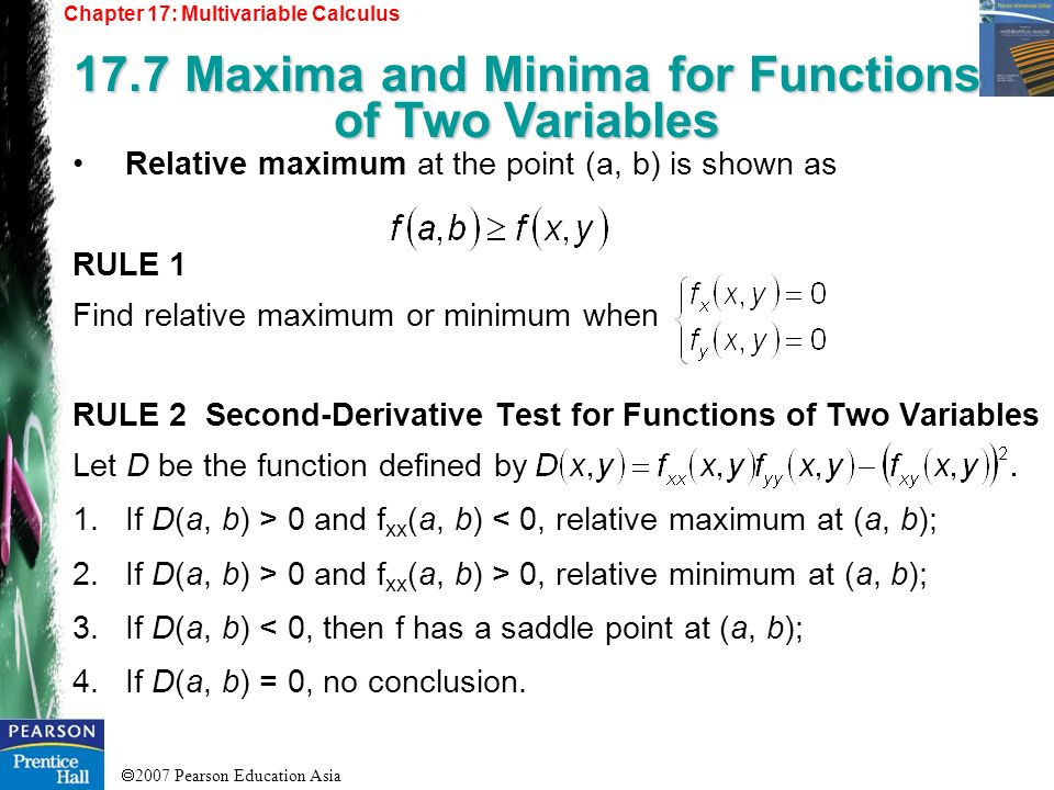17.7 Maxima and Minima for Functions