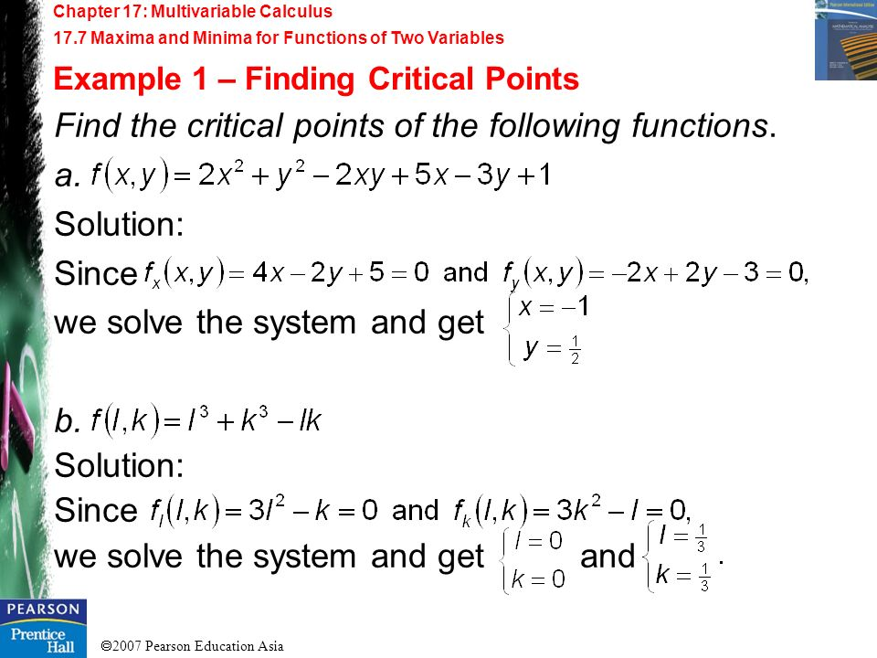 Find the critical points of the following functions. a. Solution: