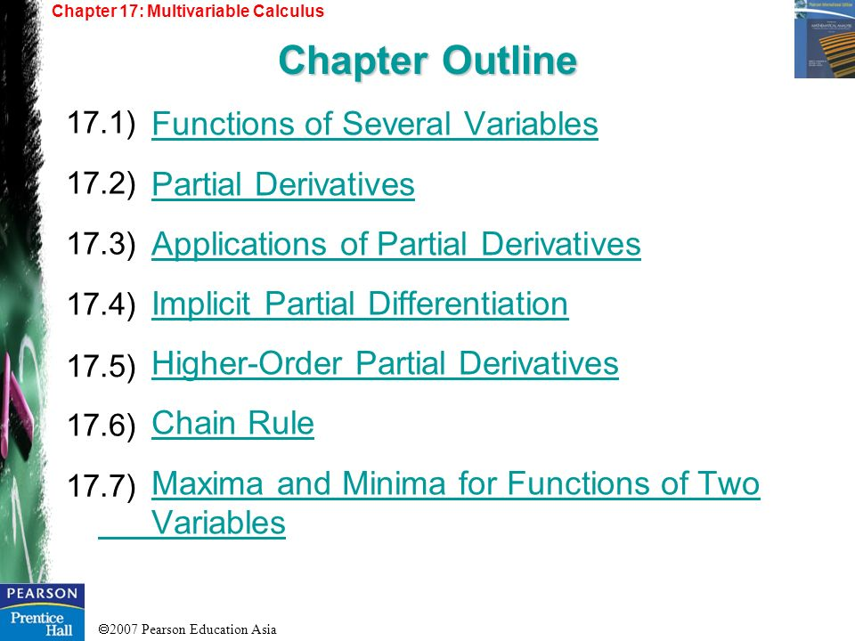 Chapter Outline Functions of Several Variables Partial Derivatives