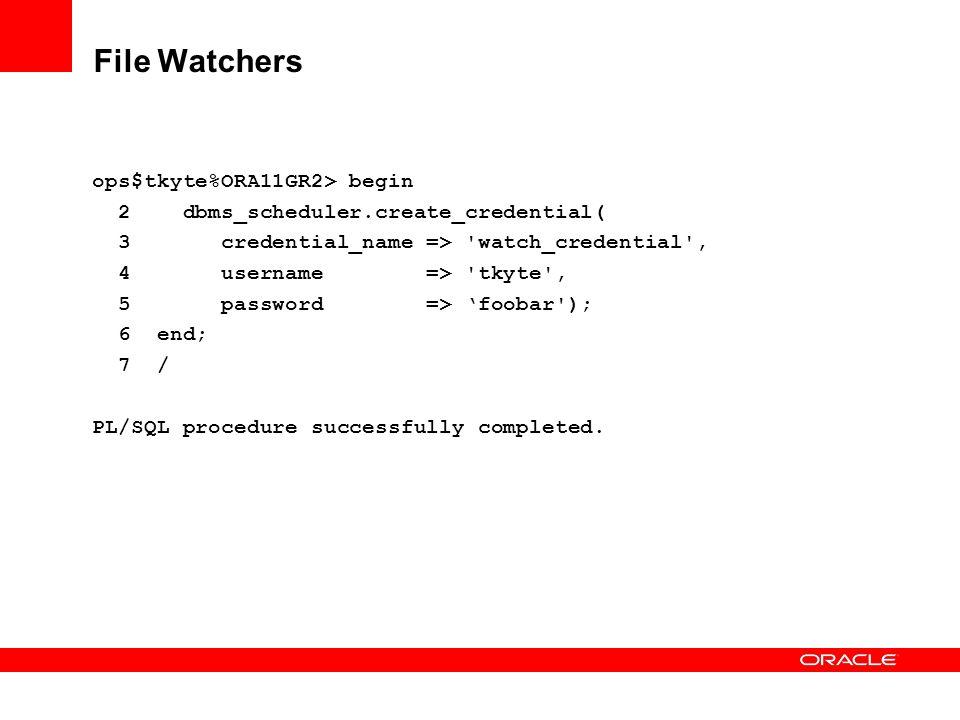 File Watchers ops$tkyte%ORA11GR2> begin