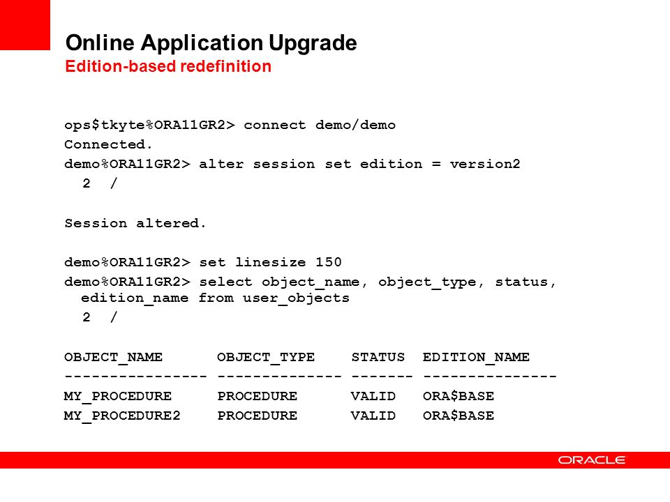 Online Application Upgrade Edition-based redefinition