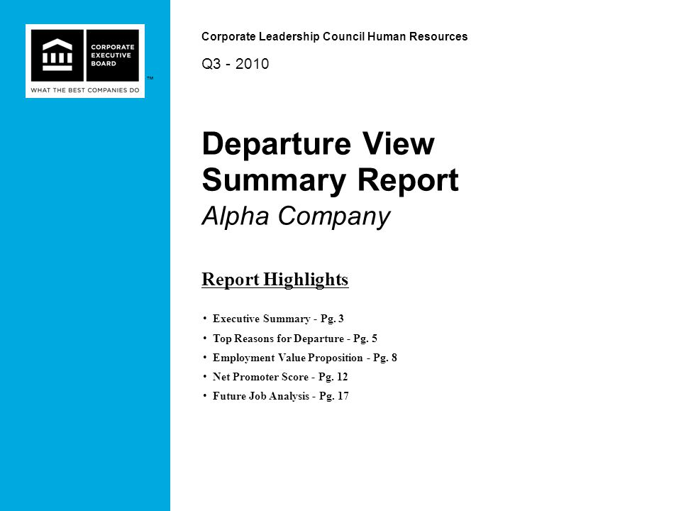 Departure View Summary Report Alpha Company