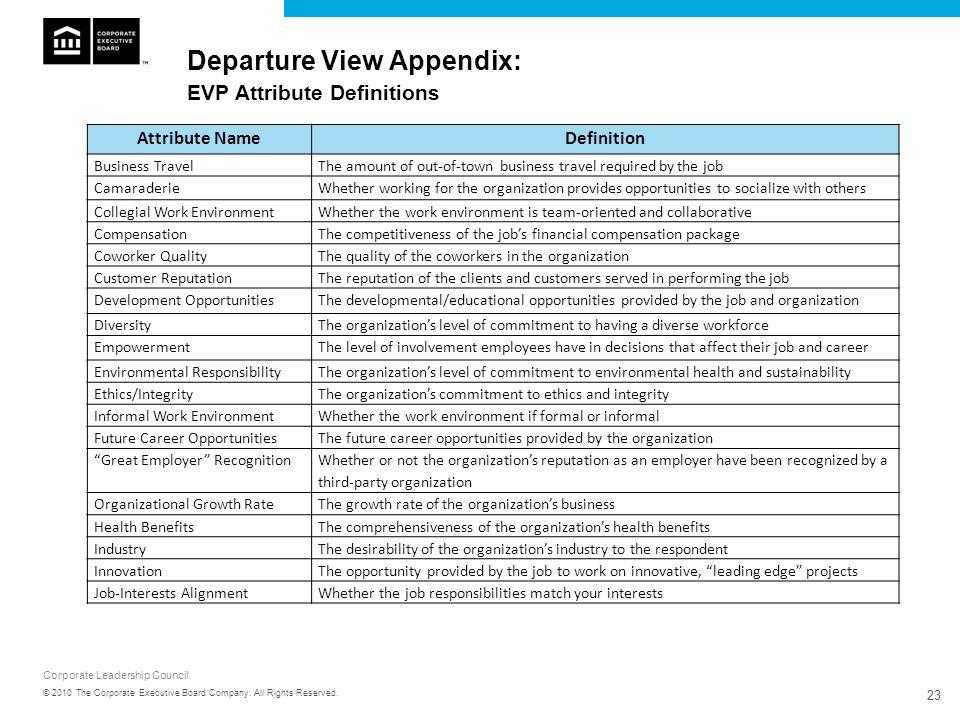 Departure View Appendix: EVP Attribute Definitions