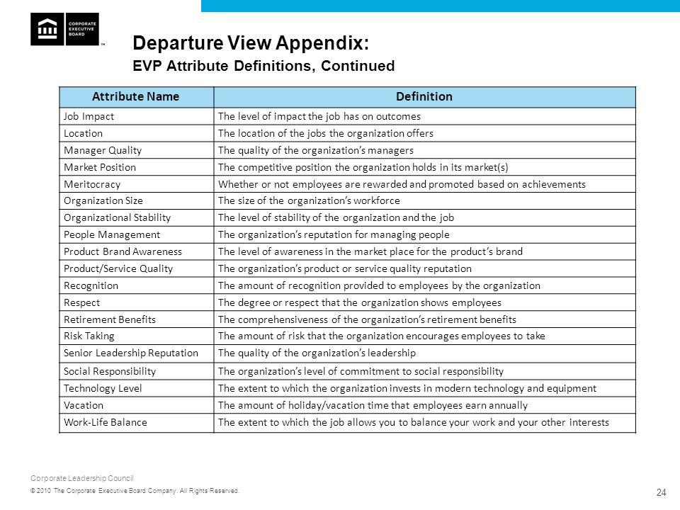 Departure View Appendix: EVP Attribute Definitions, Continued