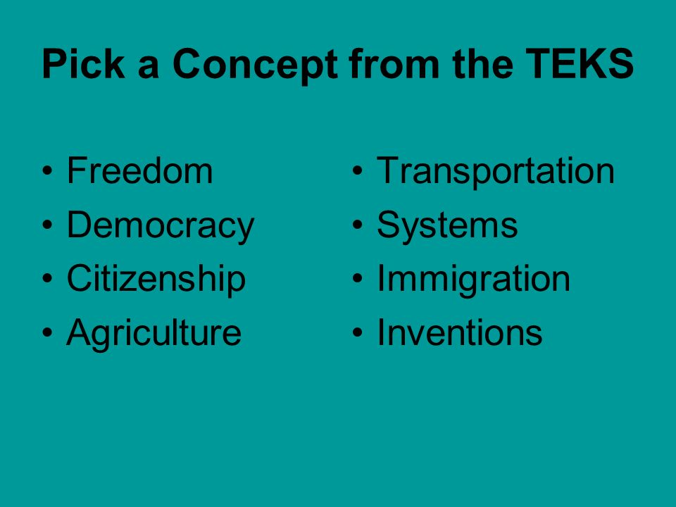 Pick a Concept from the TEKS