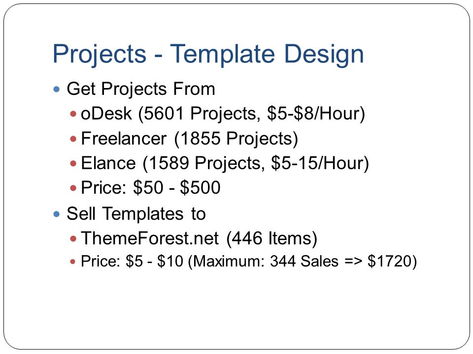 Projects - Template Design